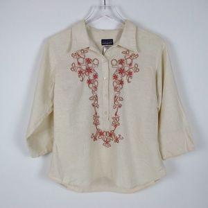 Patagonia Vintage Embroidered Hemp Blend Shirt